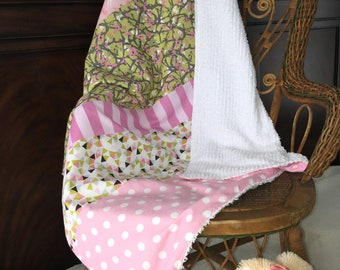 baby girl unicorn vintage chenille blanket / toddler patchwork blanket / stripes flowers dots / pink chartreuse gray