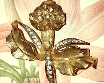 Vintage 1960's Orchid Brooch Pin gold tone metal