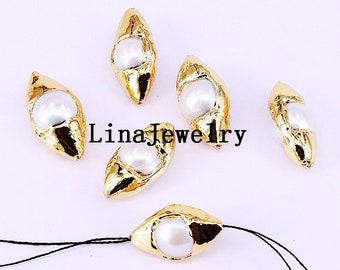 10Pcs Gold Plated Natural Pearl Spacer Connectors Freshwater Pearl Connector Gems Beads