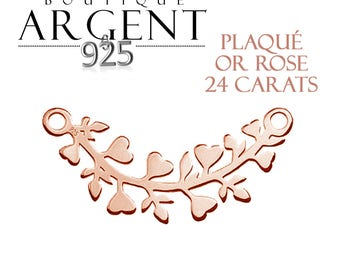 Connector tree branch - 20.6 mm - 925 silver plated Rose gold - leaf hearts