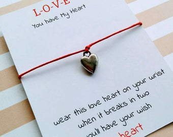 Love Heart Charm Bracelet, Heart Wish Bracelet