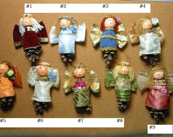 Angel Ornaments-Pine cone Angels-Choice of 9 Angels