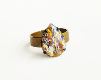 Yellow Opal Ring Vintage Glass Pear Harlequin Fire Opal Stone Adjustable Brass Victorian Ring Topaz Ring