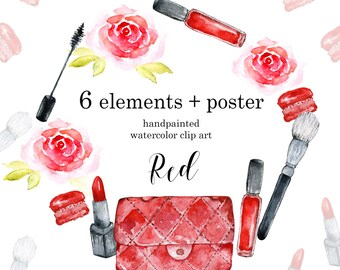 Fashion clipart, Watercolor Makeup Clipart Digital Download Digital Prints Hand painted clipart diy elements Lipstick Mascara Brush