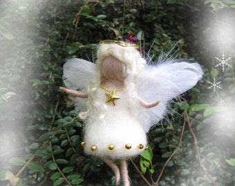 Needle Felted Wool  angel in white and gold ,  Waldorf inspired fairy doll, wool