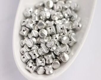 4x6mm 50pcs Czech Glass Pellet Beads Full Labrador Diabolo Beads Frosted Shine Silver Metallic