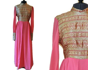 Vintage Hot Pink Dress // 1960's Gold and Pink Evening Dress // Velvet Trim // XS
