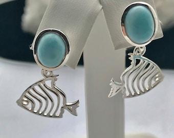 Larimar-Fish-Sterling Silver-Earrings