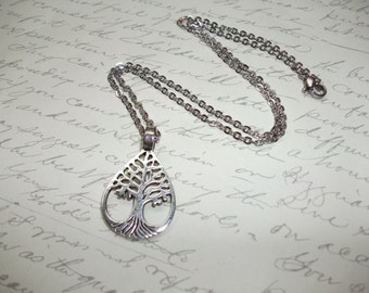 Tree of life silver drop pendant necklace