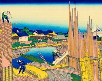 Honjo Tatekawa, wood in Honjo warehouse. -Honjo Tatekawa, the timberyard at Honjo -