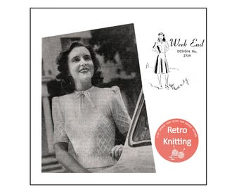 1940's Wartime Bow Neck Sweater Knitting Pattern - PDF Knitting Pattern - PDF Instant Download