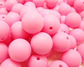 9mm - Lot of 10 Pink Silicone Beads