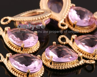 2pcs-19mmX12mmGold Faceted tear drop glass with rope rim pendants-Lavender(M316G-C)