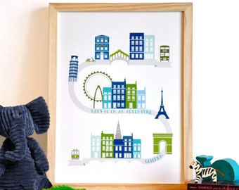 Let's Go On an Adventure Art Print - personalized modern nursery wall art . blue green children decor