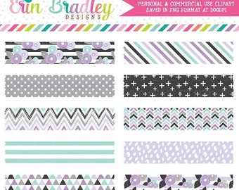 80% OFF SALE Purple Florals Digital Washi Tape Clipart Graphics Instant Download Commercial Use Clip Art for Labels or Decoration