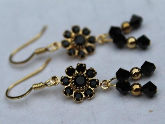 Black Crystal Earrings, Black Dangle Earrings, Black and Gold Earrings, Black Clothes Accessory