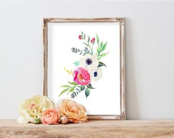 Floral bouquet, Garden flowers, Floral art print, Dining room wall art, Chic wall art, Elegant art print,  Wall decor, Watercolor decor