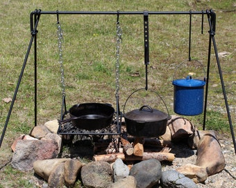 "Large Folding Campfire Cooking Set - 50"" wide"