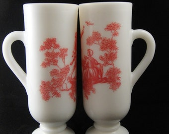 Avon Demi Cups Pair Milk Glass Red and White