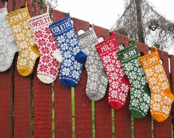 """Knit Christmas Stockings ~18"""" Personalized Hand Knit Wool Red Blue Green Gray with folksy ornaments Nordic style"""