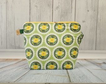 Yellow Pretty flowers Large Clutch Project Bag, Cross Stitch Project Bag, Wedge Zipper Bag for Knitting and Crochet. Padded Bag. Zipper bag