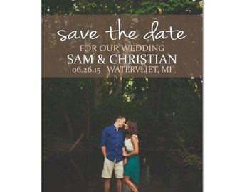 diy custom photo save the date rustic vintage picture