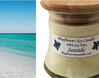 Soy Scented Candle Seaside Hand-Poured 12 oz Jar With Wood Lid