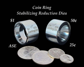 """TWO """"Stabilizer""""/Folding/Reduction Dies for the US .25, .50, Morgan Dollar & the Silver Eagle Coins; Hardened Stainless Steel"""