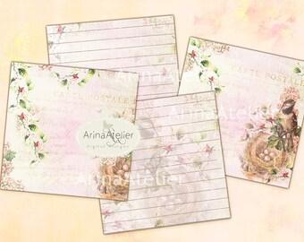 Shabby Birds and Flowers - Digital Tags - Coaster - Digital Spot Journaling - Digital Download - Set of 2 Sheet