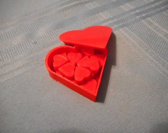 Love Letter heart tokens 13 per set and heart shaped box with lid