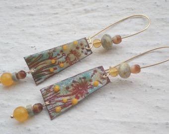 Rustic earrings - copper with Czech glass and enamels