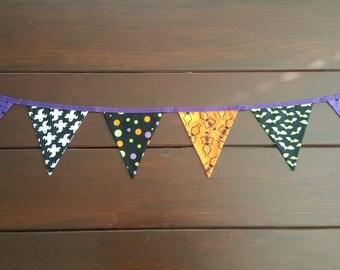 Halloween Fabric Bammer/bunting | Skeletons | Ghosts | Bats | Polka Dots | Orange | Purple | Black | Green