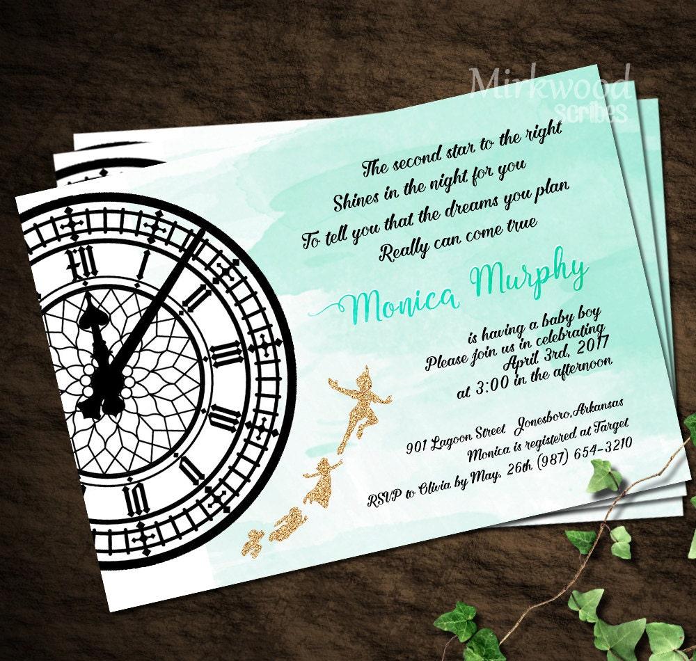 Peter Pan Baby Shower Invitation Neverland Baby Shower
