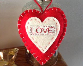 Felt love heart hanging decoration