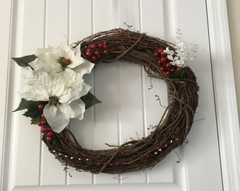 Holiday Wreath - White Flower & Red