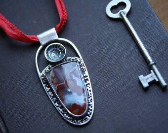 Red Lace Agate in Recycled Blackened Silver Pendant