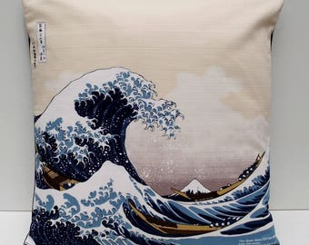 "Japanese Furoshiki Oriental Hokusai's 'The Great Wave off Kanagawa' Cushion Cover 18"" x 18"""