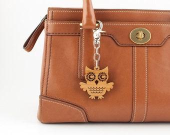 Wood Owl Bag Charm: Bamboo Owl Purse Handbag Charm, Woodland Animal Zipper Pull