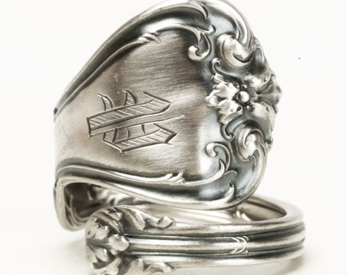 Victorian Spoon Ring, Sterling Silver Spoon Ring, Whiting Silver, Antique Spoon Ring, Engraved P, Adjustable Ring, 5th Anniversary Gift 5842