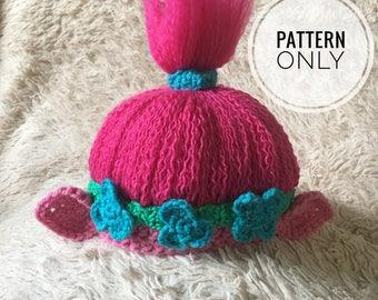 Crochet Poppy Pattern, Poppy Inspired Troll hat pattern, troll hat pattern,