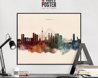 Tokyo art print, Tokyo poster, Tokyo wall art, Tokyo skyline watercolour print, travel poster, home decor, gift, iPrintPoster