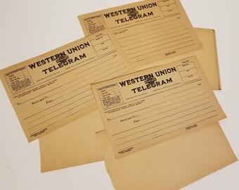 3 Western Union telegram blanks early 1900's correspondence yellowed sepia tone Vintage paper art supplies ephemera lot
