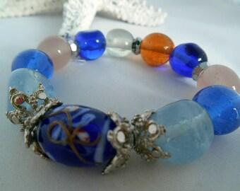 Glass Bead Bracelet- Orange, White & Blue- Glass -  Silver Metal Spacer Beads - Elastic - Gift Idea - Fashion Jewelry - Summer Bracelet