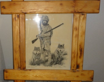"""Vintage 1981 David R. Hasler/Mountain Man and Wolfs/Titled"""" The Hunters""""/Signed/Dated/ Numbered"""