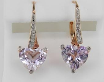 REDUCED Diamond and Heart Amethyst Drop Earrings 14K Rose Gold 3.12 ct February Gem