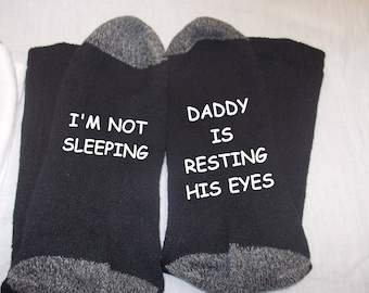 Personalized Fathers Day socks Daddy is just resting his eyes Dad Funny Socks,