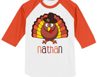 Thanksgiving T shirt - 3/4 sleeve baseball style raglan, customized with name