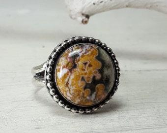 Custom Ocean Jasper Ring Sterling Silver Statement Ring