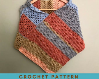 Granny Accent Poncho Crochet Pattern, Caron Cakes Pattern, Triangular Poncho Pattern, Simple Poncho Pattern, Asymmetrical Poncho Pattern