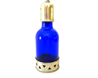 Vintage Blue Perfume Bottle, French Refillable Bottle, Vintage Perfume Bottle, Vintage Vanity, French Home Decor